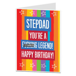 Happy birthday card stepdad step dad comical rude funny blunt ebay image is loading happy birthday card stepdad step dad comical rude publicscrutiny Image collections