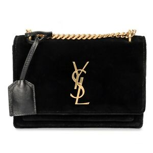 19050ee52a21 Saint Laurent Small Sunset Monogram Velvet Shoulder Bag 727371140004 ...