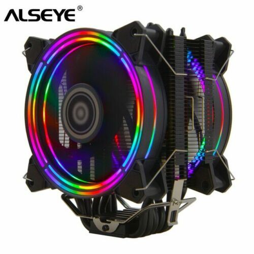 AM4 AM3 CPU Cooler RGB Fan 120mm PWM 4 Pin 6 Heat Pipes 775 115x 1366 2011 AM2