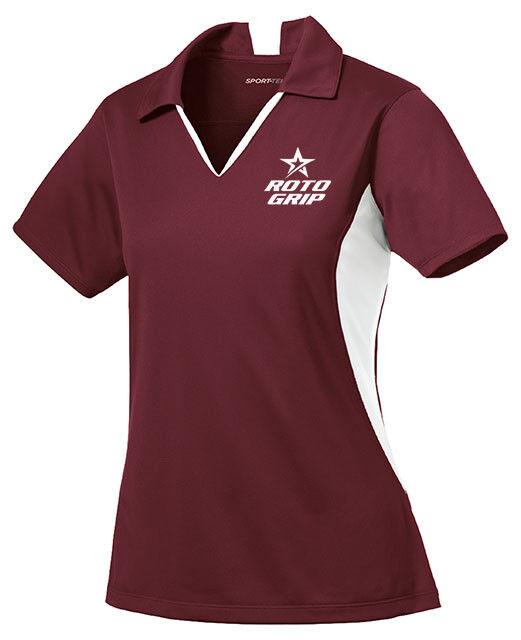 redo Grip Women's Loco Performance Polo Bowling Shirt Dri-Fit Maroon White