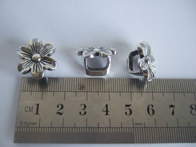 20pcs Antique Silver 10x7mm Sunflower Slider Spacer Beads For Licorice Leather H