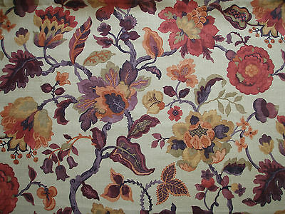 """SANDERSON CURTAIN FABRIC DESIGN """"Amanpuri"""" 6.5 METRES OLD GOLD AND AUBERGINE"""