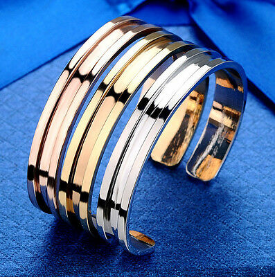 Elegant Hair Tie Bracelet Women lady Cuff Bangle Stainless Steel Band Indent