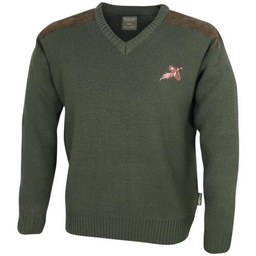 Jack Pyke Mens Shooters Pullover Classic V-neck Jumper Hunting Fishing Green