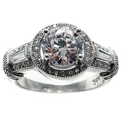 925 Sterling Silver 1.82 Carat CZ Round Halo Engagement Ring Size 5-9