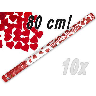 Konfetti Shooter 10x Party Popper  Herz Konfetti Kanone rote Herzen XXL 80 cm !