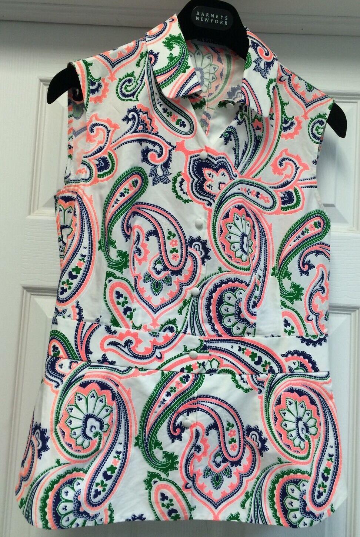 Jil Sander Multi-Farbe Paisley 100%Cotton Sleevless ButtonDown Blouse Sz 4 S 1K