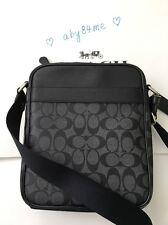 *NWT Coach Men's Flight Bag In Signature PVC Crossbody Bag F54788 Charcoal/Black
