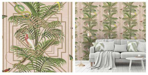 Holden Decor Congo Pink Multi Tropical Bird Jungle Wallpaper 90200 SAMPLE ONLY