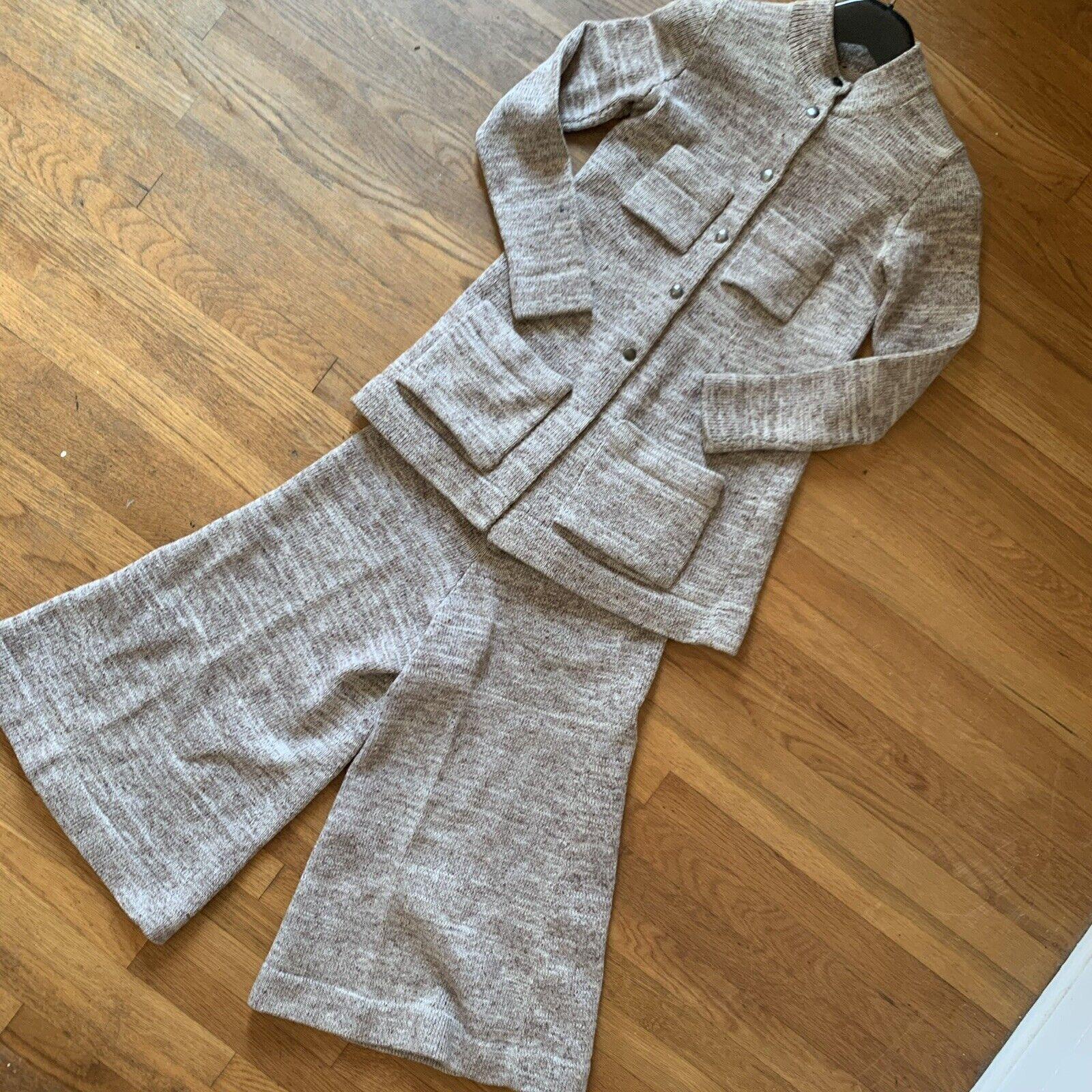 Vintage 70s Knit Leisure Suit Gaucho Pants Size S… - image 1