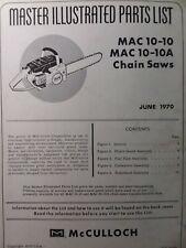 Mcculloch Chain Saw Mac 10 10 Amp Mac 10 10a Parts Catalog Manual 2 Cycle Gas 1970