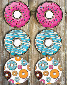 Novelty-Drink-Coasters-Donuts-Set-of-6-Non-Slip-Neoprene