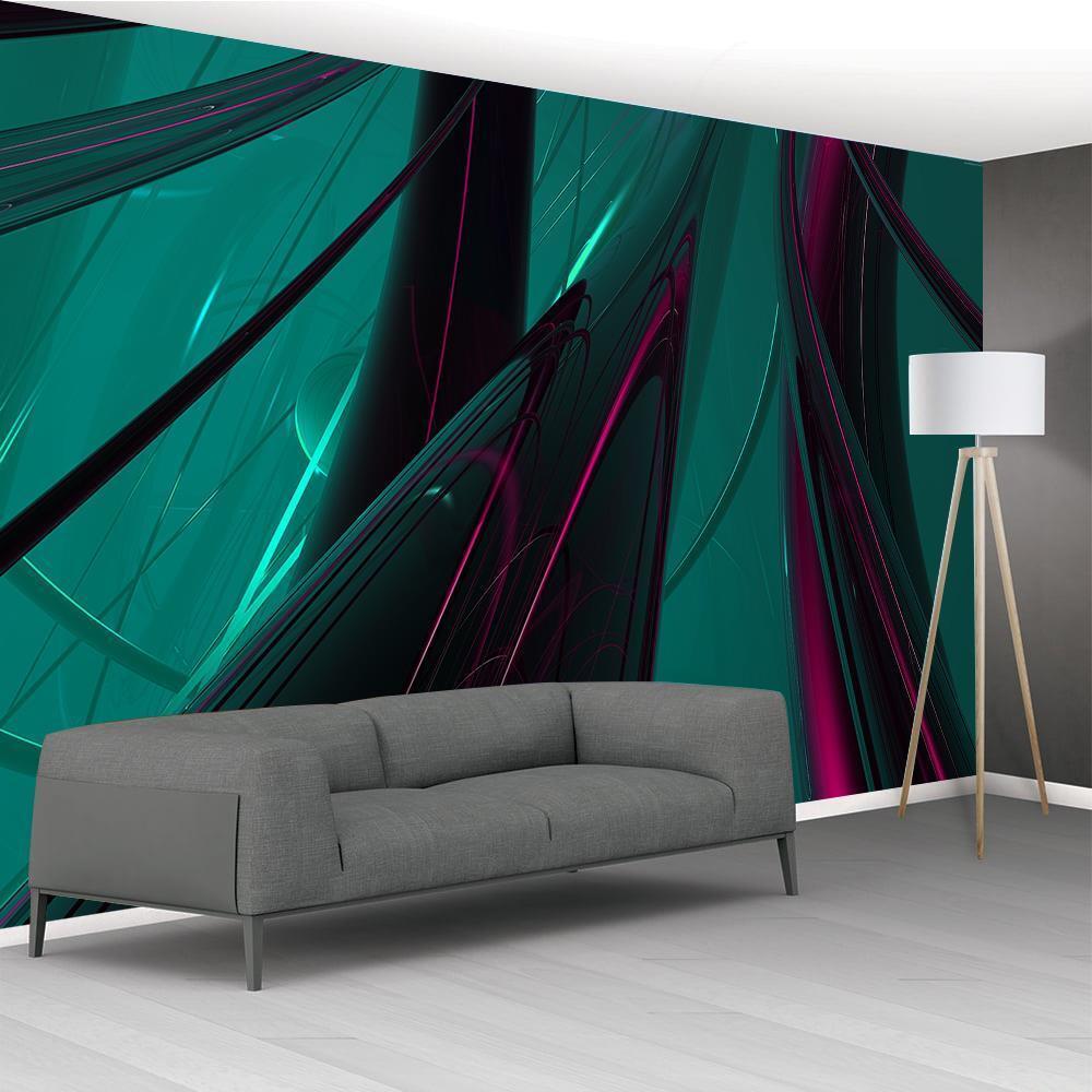 Photo Wallpaper Woven Self-Adhesive Wall Mural Art ABSTRACT Grün & lila M41