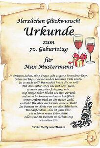 Urkunde Zum 50 60 70 80 Geburtstag Ausgefallenes Personliches