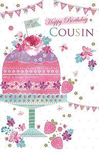 Happy Birthday Cousin Cake Bunting Design Bright Modern Happy