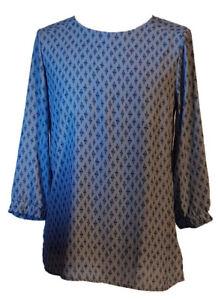 Camicia-Blusa-Tunica-Casacca-Elegante-Donna-LUISELLA-MARIANI-Celeste-con-Rombi-M