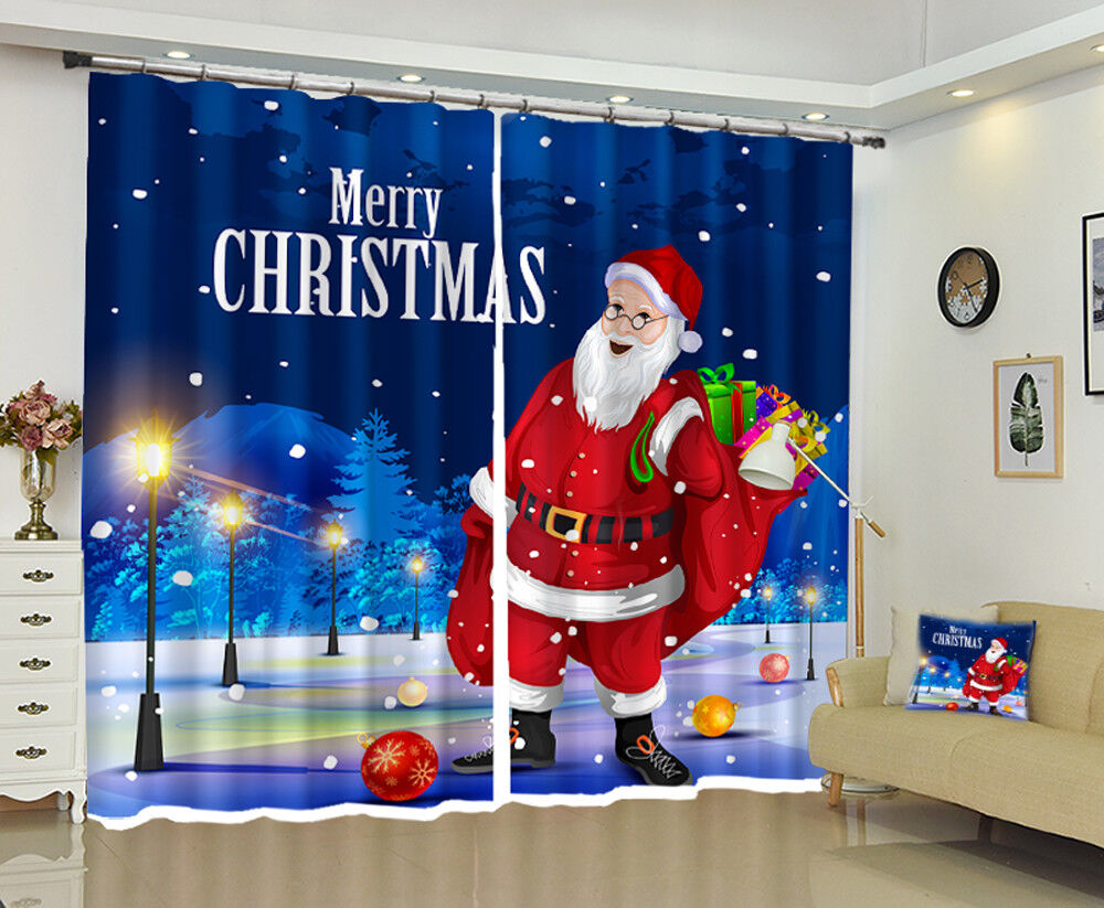 3d navidad Xmas Claus 56 bloqueo foto cortina cortina de impresión ventana de tela de