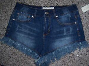 492a63ea982d80 Altar'd State Blue Distressed Denim Short Shorts with Cut Off Fringe ...
