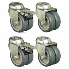 Set Of 4 50mm Wheel Thermoplastic Castors Hole Fitting Twin Wheel High Load