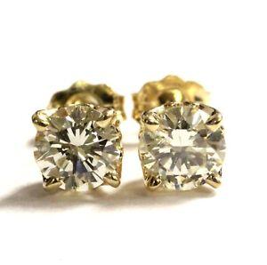 22b2e74a923 EGL GIA certified 14k yellow gold 1.11ct round diamond stud earrings ...