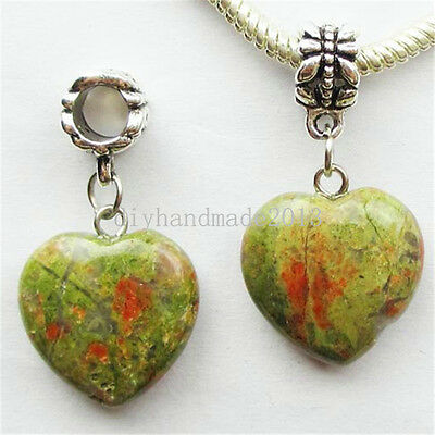 Wholesale! Mixed Stone Heart /Tibetan silver Fit European Bracelet Necklace U366