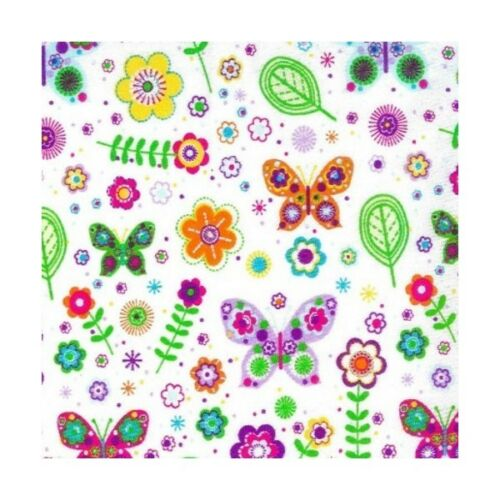 Telas de policotton Tela Mariposa Floral Flores Mariposas bastante