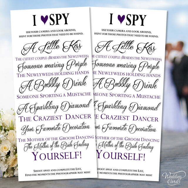 2 x wedding i spy game camera kidstable activity favour personalised