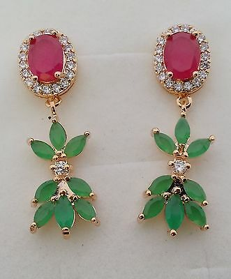 GORGEOUS 14cts RED RUBY&EMERALD 925 STERLING SILVER DANGLE EARRINGS GOLD PLATED