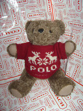 "POLO RALPH LAUREN 1998 TEDDY BEAR PLUSH STUFFED 15"" BROWN BLUE KNIT RED SWEATER"