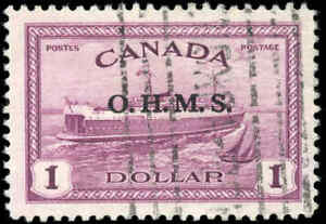 1949-1950-VF-Used-Canada-1-00-Overprinted-Scott-O10-Peace-Issue-Stamp
