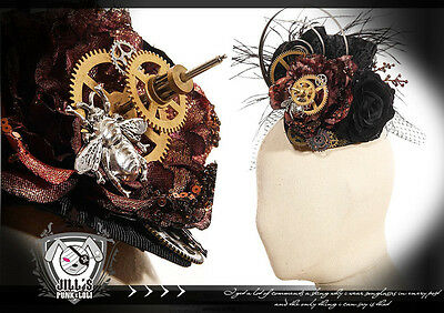 Goth Victorian SteamPunk Hornet proengine Blossom Fascinator hairclip 【JRSP078】