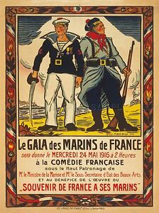 ADVERTISING-EXHIBITION-CHARITY-EVENT-FRENCH-MARINES-SAILORS-FRANCE-POSTER-LV763