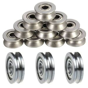 5pCS-Ball-Bearing-Sealed-Guide-Wire-Track-U-Groove-Pulley-Wheels-Roller