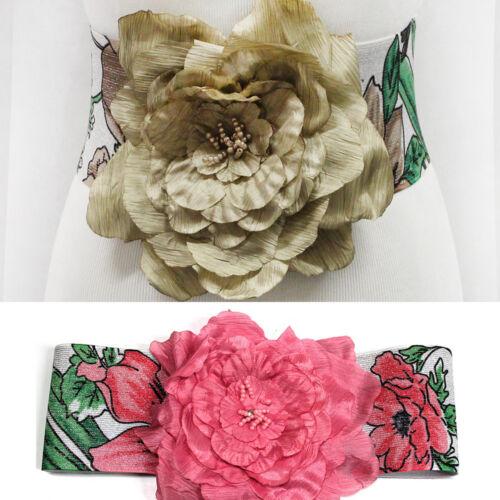 Femmes Big Camélia Fleur Boucle large élastique stretch Ceinture Ceinture Robe de soirée