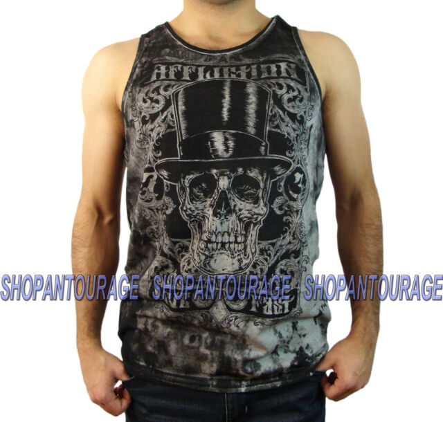 AFFLICTION Draculas Frame A13005 Men`s New Black/White Tank Top