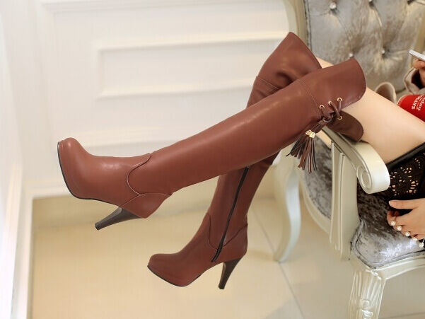 Booties boots until thigh woman plateau heel 9.5 cm elegant comfortable Braun