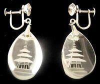 Japan Sterling Rock Crystal Dangle Earrings~DEAD STOCK Vtg Reverse Carved Pagoda