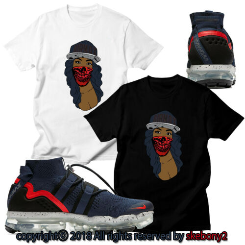 NEW CUSTOM T SHIRT matching Nike Air VaporMax Utility College Navy AVPU 1-4-15