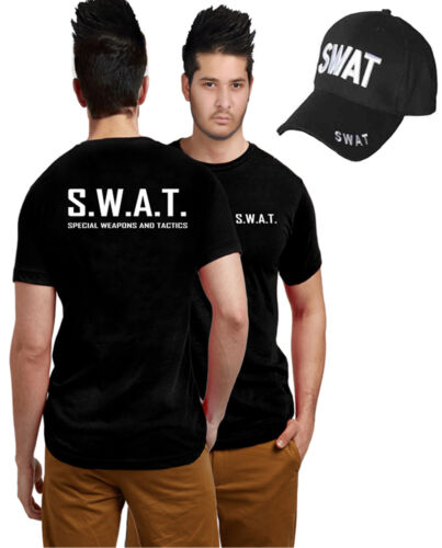 ADULT SWAT TEAM T-SHIRT /& CAP POLICE MILITARY FANCY DRESS LOT ACCESSORY COSTUME