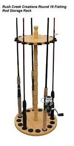 16 Fishing Pole Storage Rack Wood Grain Laminate Round Rod Holder Organizer New Ebay