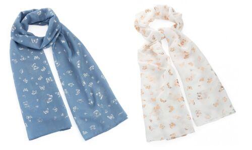 Papillon foulard feuille d/'argent paillettes imprimé petits papillons Fashion femme Cadeau