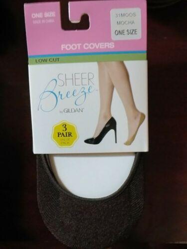Gildan Ladies Foot Covers 3 pair Mocha Footies Liners One Size No Show NIP