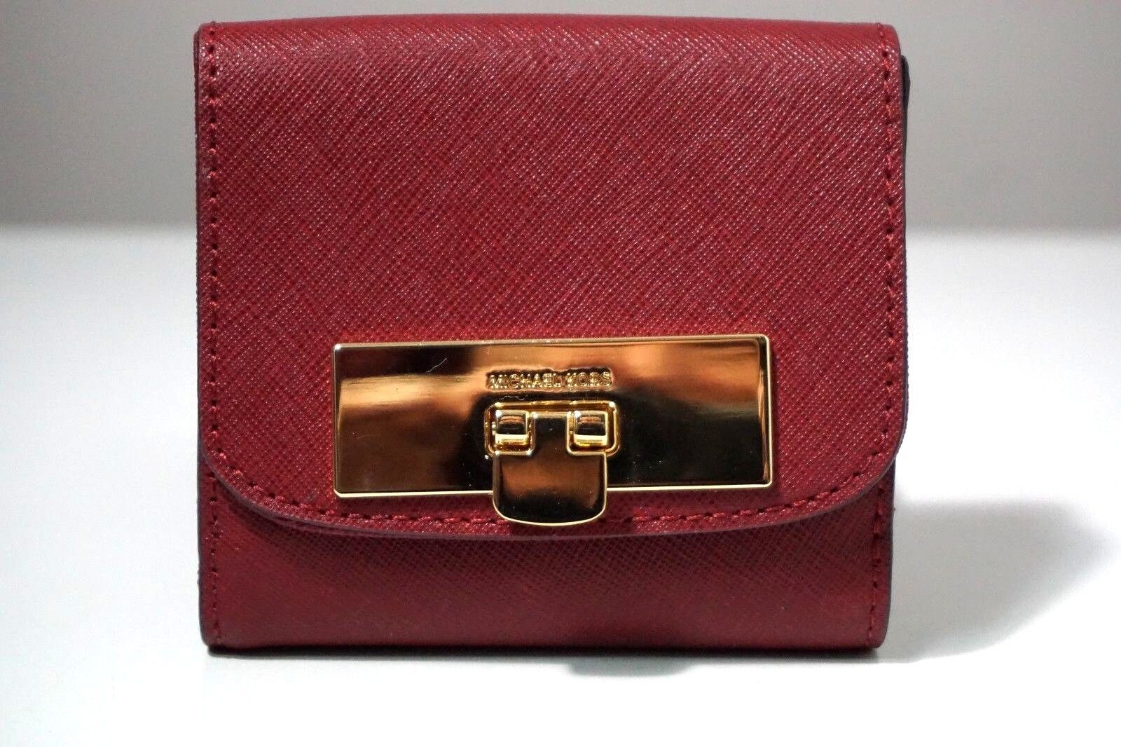 3051b78fcf4e Michael Kors Callie Leather Cherry Red Trifold Coin Case Wallet for ...