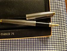 VINTAGE PARKER 75 CISELE STERLING SILVER FOUNTAIN PEN FLAT TOP & BOTTOM