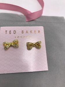 eea381ef6 $65 Ted Baker gold tone mini opulent pave bow stud earrings M101 ...
