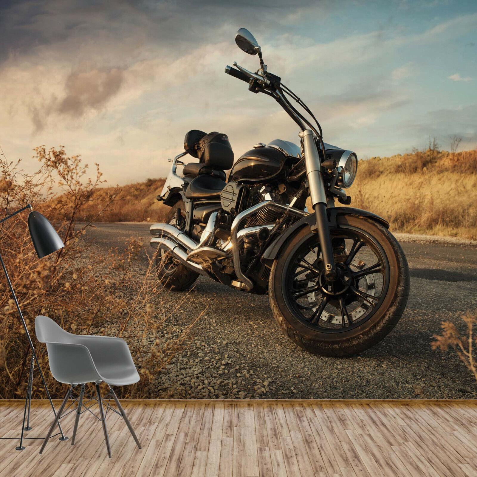 Tapete Fototapete für Wohnzimmer Kraftrad Motorrad Chopper Harley