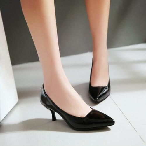Ladies Women/'s Sweet Low Mid High Heel Pointed Toe Casual Pumps Work Court Shoes