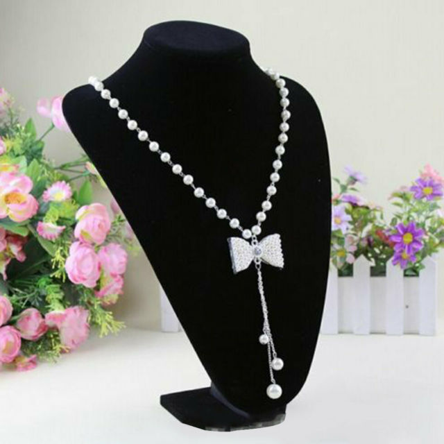 Black Mannequin Necklace Jewelry Pendant Display Stand Holder Decorate 22*15 GN