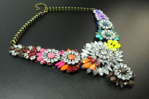 LADIES CHUNKY STONE AZTEC INSPIRED MULTI COLOUR FLORAL STATEMENT NECKLACE T CL17