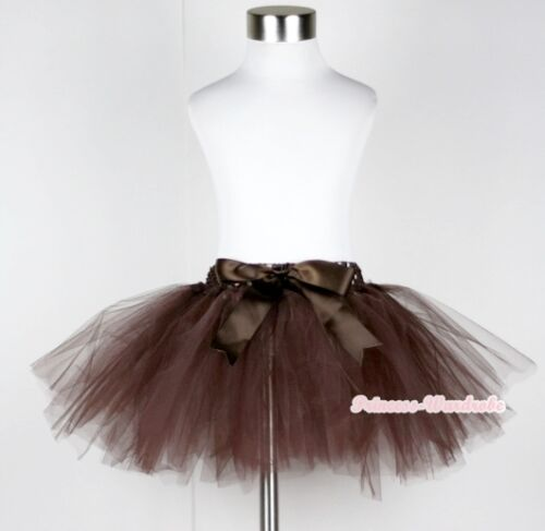 Chocolate Brown Petti Ballet Knotted Dance Tutu Tulle Skirt Petticoat NB-4Year